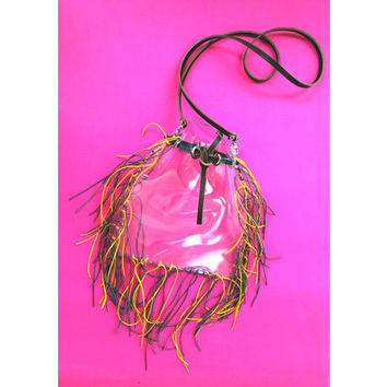 LSU crossbody bag with purple yellow fringe for Tigers football fans,stadium clear bag LSU approved,LSU Tigers Cornhole,lsu geaux clear bag