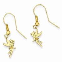 Gold-Plated SS Disney Tinker Bell Dangle Wire Earrings