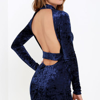 Oh, Behave! Navy Blue Velvet Bodycon Dress