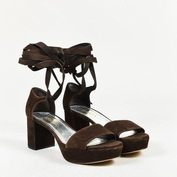 LMF3DS Prada Brown Suede Ankle Wrap Platform Open Toe Sandals
