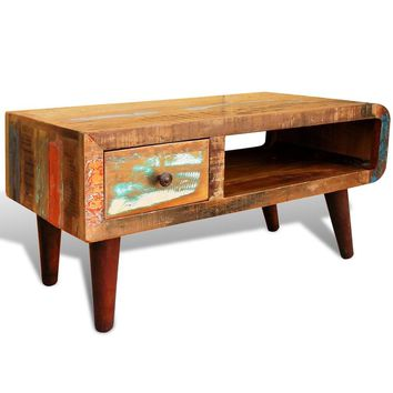 Antique-style Reclaimed Wood Coffee Table Curved Edge
