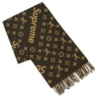 LOUIS VUITTON x SUPREME Scarf 69.6 inch Brown 2018 AW Rare Never Used