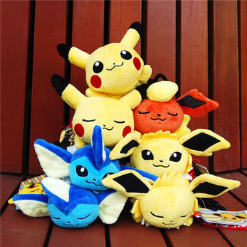5 Inch Pokemon Plush Doll Stuffed Toy Pikachu Toys Pyjamas Hoodie Action Figures Brinquedo Fashion Toys Keychain Kids Gift