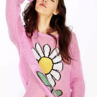 Floral Print Ripped Sweater