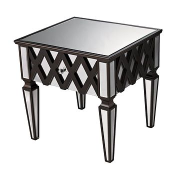 London Side Table In Clear Mirror Glass And Espresso Wood Finish