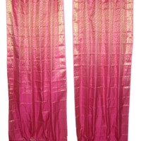 2 India Sari Curtains Pink Gold Saree Drapes Panels Window Treatment Bohemian Decor