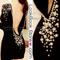 Lookbookstore Women Sexy Embellished Fancy Plastic Pearls Beaded Backless V-back Short Dress