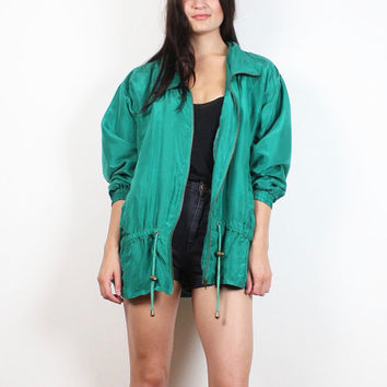 Vintage 90s Silk Bomber Jacket Teal Green Anorak Jacket 1990s Sporty Track Jacket Warm Up Windbreaker Slouchy Athletic Coat L Extra Large XL