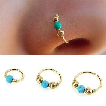 ac PEAPO2Q Fashion Women Men Gold Silver Metal Round Green Stone Nostril Hoop Nose Rings Ear Rings Piercing  Jewelry 3 Size New Style