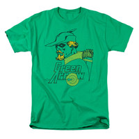 DC Comics Men's  Close Up T-shirt Green Rockabilia
