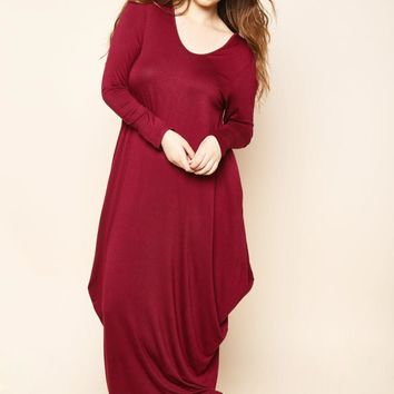 Burgundy Flowy Draped Long Sleeves Plus Size Midi Dress