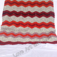 Ready to ship, handmade, stroller, nursery, Icelandic wool, warm, throw, zig zag, afghan, blanket, wheelchair, baby carriage,  outdoors
