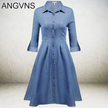 ANGVNS Denim Dress 1950s 60s Big Swing Women Flare Retro Vintage Summer Spring Dresses Elegant Tunic Casual Dress Vestidos S-XXL