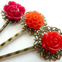Vintage flower hair pins red bobby pins clip Holiday Season