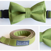 Olive Layered Bow Tie For Dogs With Collar with Optional Leash by Dog and Bow