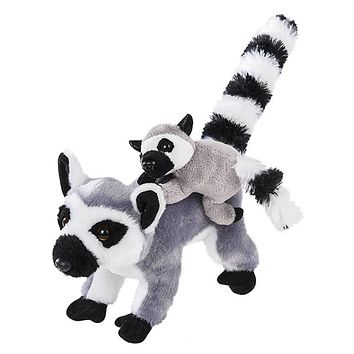 8 Inch Small Stuffed Ring-tailed Lemur Mom and Baby Plush Zoo Animal Mini Family Collection
