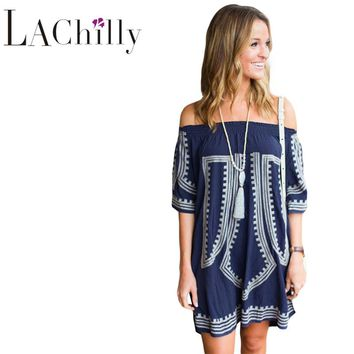 Summer Beach Style 2017 New Sexy Women Loose Dresses Bohemian Vibe Geometric Print Off The Shoulder Beach Dress LC42149
