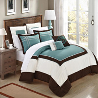 Ballroom Green, Brown & White 11 Piece Embroidery Comforter Bed In A Bag Set