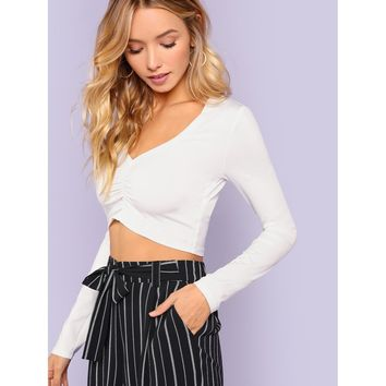 Plunging Neck Ruched Detail Crop Top