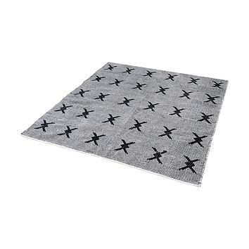 Eton Handwoven Cotton Flatweave Rug In Black And White - 6-Inch Square