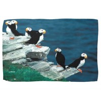 Alaska Puffins Feathered Colorful Birds Hand Towel