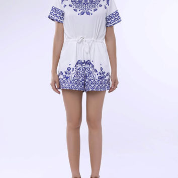 Blue and White Short Sleeve Printed Playsuit