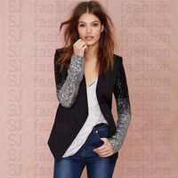 Patchwork OL Formal Blazer Women Gradient Sequins Stitching Slim