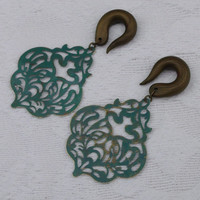 Teal Green Vector Gauged Earrings