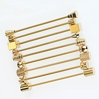 Hot 9 Style Men's Stainless Steel Gold Collar Pin 6cm Brooch Tie Collar Pin Round Head for Skinny Tie Shirt With Collar