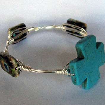 Wire Wrapped Stackable Bracelet - Turquoise Howlite and Peacock Reconstituted Turquoise