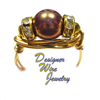 DWJ0545 Lovely Bronze Smoke Luster Czech Art Glass Solitaire Gold Wire Wrap Ring