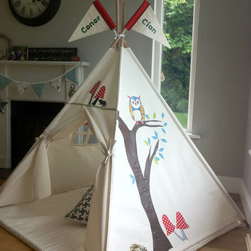 Woodland Teepee Handcrafted in Ireland by Maple and Spud Designs. Poles included.