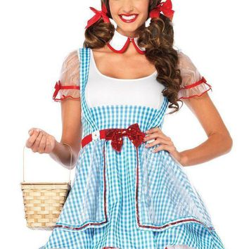 2pc.oz Beautysuspender Dress And Peter Pan Collar In Blue/white