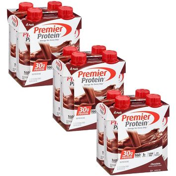 Premier Protein 30g Protein Shakes, Chocolate, 11 Fluid Ounces, 4 Count (Pack of 3)