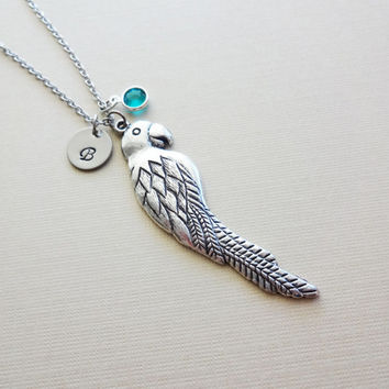 Parrot Necklace BFF Friend Gift Tropical Animal Toucan Bird Jewelry Swarovski Birthstone Silver Initial Personalized Monogram Hand Stamped