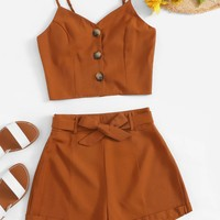 Button Front Cami Top With Belted Shorts