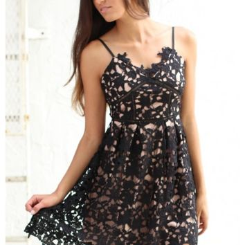 Black lace spaghetti strap dress with nude liner | Cassie | escloset.com