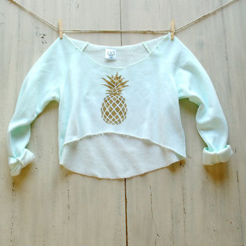Tumblr Crop Shirt Sweatshirt Jumper Mint Green Pineapple Summer Fashion Beach Coverup Trendy Tumblr Pinterest Shirt