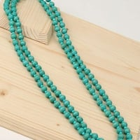 Wooden Beaded Turquoise Necklace