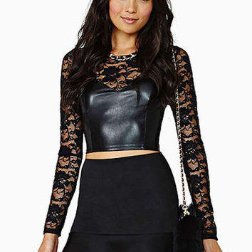 Black Rose Lace Leather Shirt