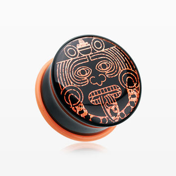 A Pair of Mayan Calendar God Single Flared Ear Gauge Plug