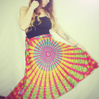 Bohemian Wrap Skirt Peacock Print Hippie Skirt by Cloud9Jewels
