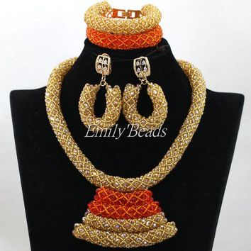 Classic Orange Nigerian Traditional Wedding Set - Free Shipping
