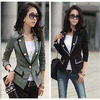 Trendy Womens Blazer Jacket One Button Slim Ladies OL Casual Suit Coat Outerwear