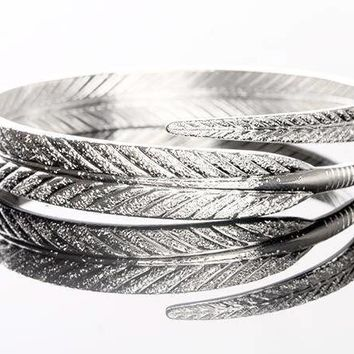 ON SALE - Etched Feather Bangle Cuff Bracelet