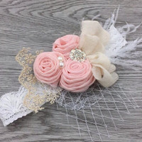 Pink Vintage Headband, Flower Girl Hair Accessories, Flower Girl Headband, Baby Girls Headband, Lace Headband, Flower Headband