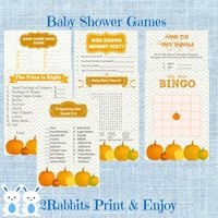 Pumpkin Baby Shower Games Package Seven Printable Games Name Race Game,Price is Right,Who Knows Mommy,Bingo, Pregnancy How Sweet It Is etc