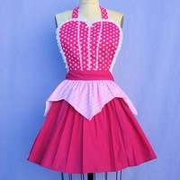 AURORA Sleeping Beauty  inspired retro APRON womens full costume aprons in pretty pink polka dots