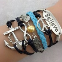 Peace Sign Bracelet Infinity Believe Leather Cuff Bracelet jewelry girls kids
