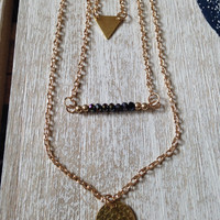 Simple Multi-Layer Gold Charm Stacked Necklace